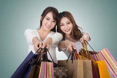 Asian shopping woman royalty free stock photo