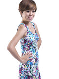 Asian short hair girl with flora dress Stock Photography