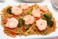Asian Shrimp Fried Rice. With broccoli, carrot, scallion, ginger Royalty Free Stock Images
