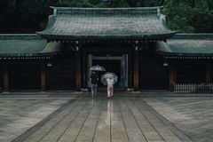 Asian shrine in rain