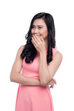 Asian shy girl smiling portrait with hands in face Royalty Free Stock Images