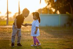 Free Asian Siblings Big Brother And Young Sister Holding Hand And Playing In The Park Together At Sunset Time Royalty Free Stock Photos - 166141968