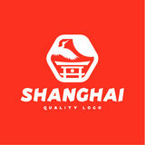 Asian sign Shanghai crane flies sky culture Stock Photo