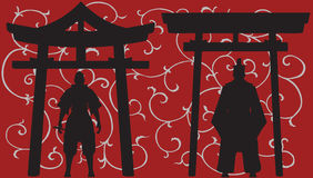 Asian silhouettes. Asian silhouettes with temple on red background Stock Images