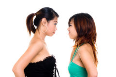 Asian sister fighting with each other Royalty Free Stock Image
