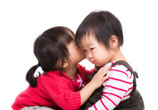 Asian sister kiss her litter sister Royalty Free Stock Images