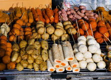 Asian skewer snacks local street food stall in penang malaysia Stock Photo