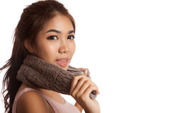 Asian skinny girl excercise hold towel Royalty Free Stock Images