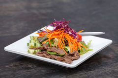 Asian Sliced Beef Salad with red cabbage and Carrots Stock Image