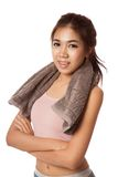 Asian slim girl exercise with towel on her neck Royalty Free Stock Photos