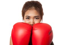Asian slim girl  guard with red  boxing glove Royalty Free Stock Photo