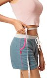 Asian slim girl with measuring tape Stock Images