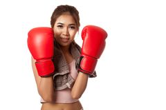 Asian slim girl  with red  boxing glove Stock Photography