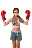 Asian slim girl  with red  boxing glove Stock Photo