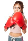 Asian slim girl  with red  boxing glove Stock Photos