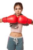 Asian slim girl  with red  boxing glove Stock Images