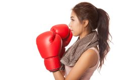 Asian slim girl  with red  boxing glove. Isolated on white background Stock Photography