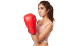 Asian slim girl  with red  boxing glove Stock Image