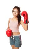Asian slim girl  with red  boxing glove. Isolated on white background Stock Photos