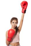 Asian slim girl  with red  boxing glove Royalty Free Stock Photos