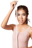Asian slim girl smile with measuring tape Stock Photography
