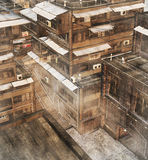 Asian Slum. 3D render of derelict urban buildings in an Asian slum royalty free illustration