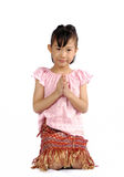 Asian small child pay respect in Thai costume style Royalty Free Stock Images