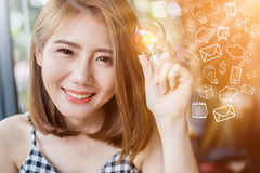 asian smart beauty girl with glow light bulb with drawing of light bulb in cafe creativity ideas concept stock photo