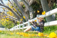 Asian smiling kid girl sitting and throw yellow flowers in fallen leaves at autumn in the park,. Happy and relax. Lifestyle Concept royalty free stock photography