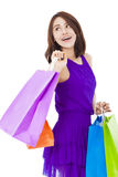 Asian smiling young woman holding shopping bag Stock Photo