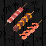 Asian snack skewers Royalty Free Stock Images