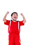 Asian soccer player showing arm up gesture. Action of winner or Royalty Free Stock Image
