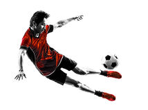 Asian soccer player young man silhouette Royalty Free Stock Photography