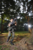 Asian Soldier Making an Attack stock images