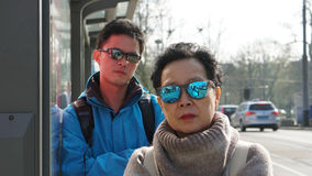 Asian son taking mother for Europe trip vacation. Happy family t Royalty Free Stock Photography