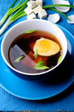 Asian soup with egg onion ant tofu cheese Royalty Free Stock Photography