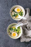 Asian soup with eggs, onion and spinach Royalty Free Stock Images