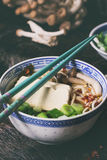 Asian soup ramen with feta cheese Royalty Free Stock Photography