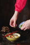 Asian soup ramen ready to eat Stock Photos