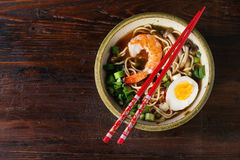 Asian soup ramen with shrimp Royalty Free Stock Images