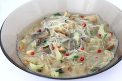 Asian soup with rice noodles Royalty Free Stock Image