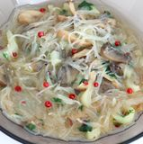 Asian soup with rice noodles Stock Photos