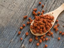 Asian spices. Dry adjika in spoon on wooden background. Closeup stock image