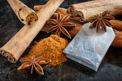 Asian Spices. Tea, star anise, and cinnamon. on a marble surface Stock Images