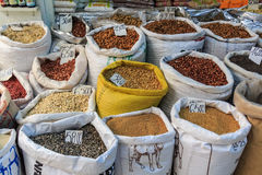 Asian spicies and nuts in sacks Stock Image