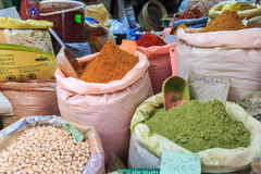 Asian spicies and nuts in sacks stock photo