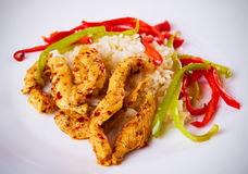 Asian spicy chicken with rice Royalty Free Stock Photos
