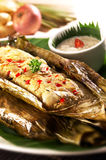 Asian spicy fish cake. With gravy royalty free stock photo