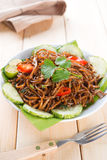 Asian spicy fried noodles Stock Images