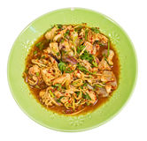 Asian spicy squid salad in big  plate Stock Photo